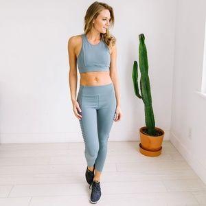 Pants - Dusty Blue Moto Workout Leggings